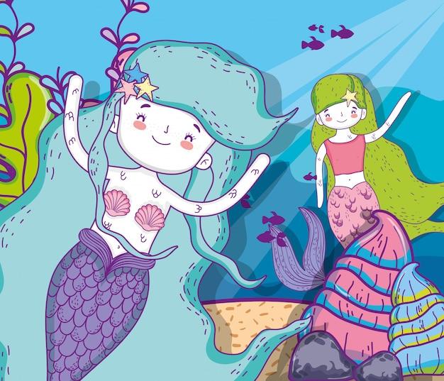 Cute sereias mulheres com plantas e peixes