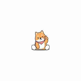 Cute, shiba, inu, cão, piscando, olho, caricatura, ícone