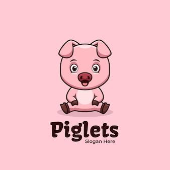 Cute sitting piglets criativo mascote kawaii design de logotipo
