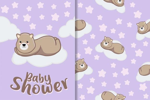 Cute sleep bear animal mão desenhada bebê padrão conjunto