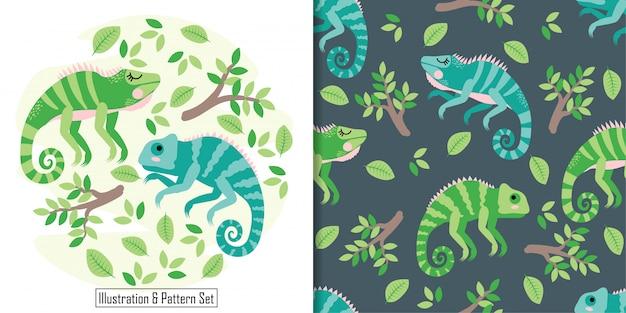 Cute, sono, iguana, cartão, mão, desenhado, seamless, padrão