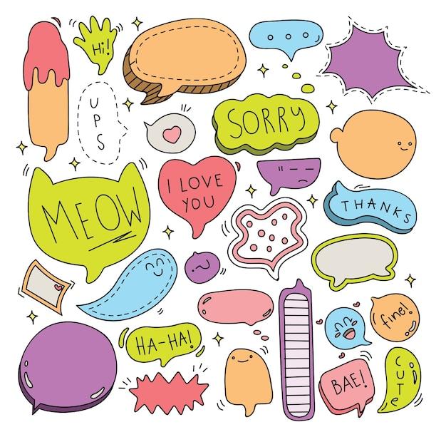 Cute speech bubble doodle conjunto de ilustração vetorial