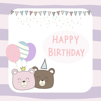 Cute teddy bear cartoon papel de parede de cartão de feliz aniversário doodle