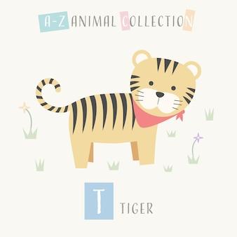 Cute tiger cartoon doodle alfabeto animal t