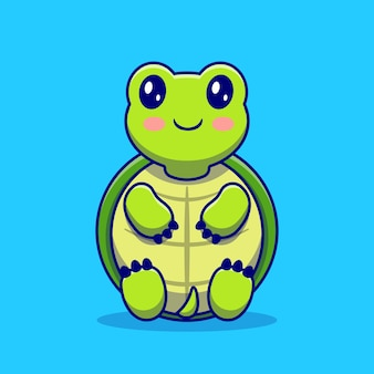 Cute turtle sit cartoon. conceito de ícone de amor animal isolado. estilo flat cartoon
