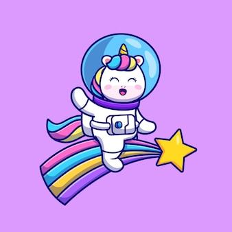 Cute unicorn astronaut riding rainbow illustration.