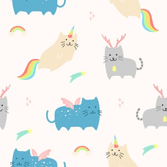 Cute unicorn cat animal sem costura padrão para papel de parede
