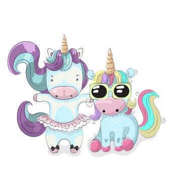 Cute unicorn friends cartoon mão desenhada