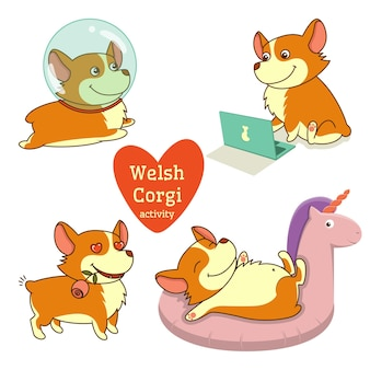 Cute welsh corgi definido em diferentes poses. atividade engraçada de corgi