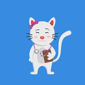 Cute white smiling female doctor cat