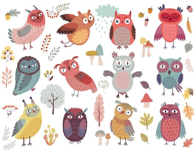 Cute woodland owls personagens engraçados com humor diferente