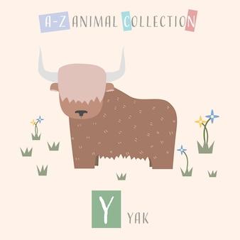 Cute yak cartoon doodle alfabeto de animais y