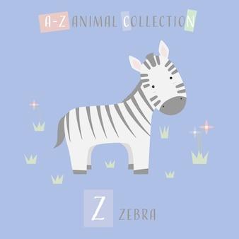 Cute zebra cartoon doodle alfabeto animal z