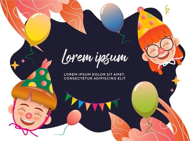 Cutes personagem aniversário comemorando o conceito com crianças e balões de ilustração vetorial