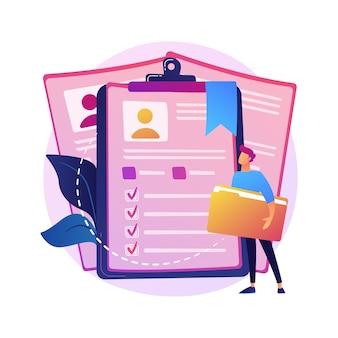 Cv dos funcionários, currículo dos candidatos. trabalhadores corporativos, estudantes id isolam elemento de design plano. formulários de emprego, avatares, informações pessoais.