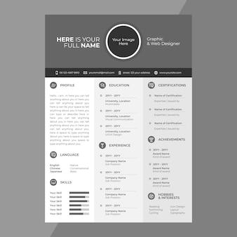 Cv / resume design com ícones de linha