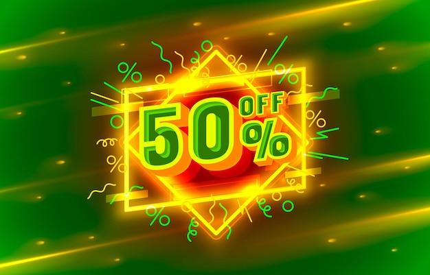 Cyber 50 fora do banner de venda, flyer de luz neon, rótulo retrô. ilustração vetorial