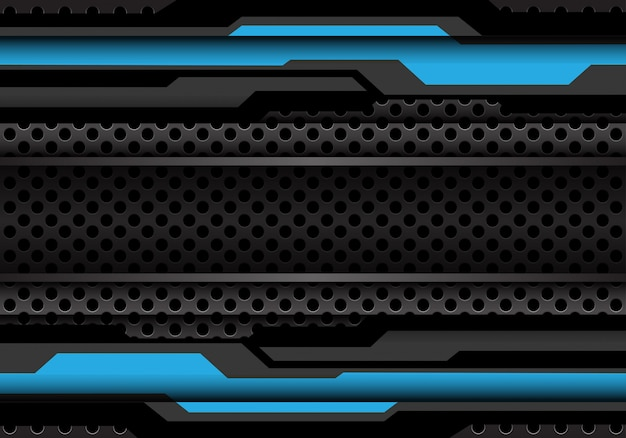 Cyber cinzento escuro azul do polígono no fundo da malha do círculo.
