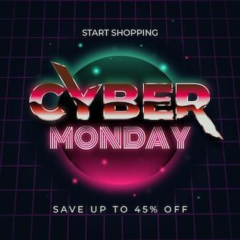 Cyber futurista vintage segunda-feira