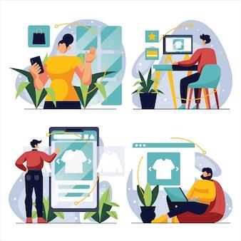 Cyber monday com ilustração de personagens define coleção de compras online