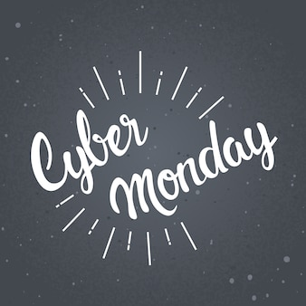 Cyber monday lettering design banner de venda de compras on-line