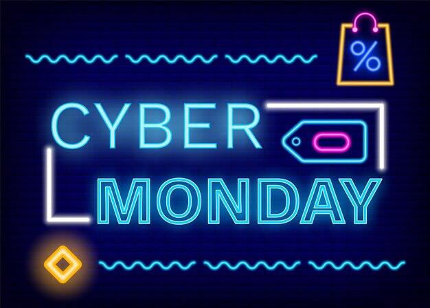Cyber monday neon sign, desconto e ofertas