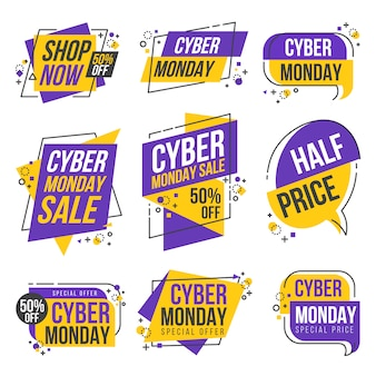 Cyber monday shopping day origami banner label design collection