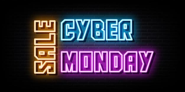 Cyber monday venda sinais de néon modelo de design de vetor estilo néon