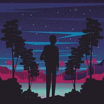 Cyber punk poster com homem em silhueta de paisagem