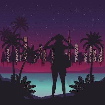 Cyber punk poster com mulher em silhueta de paisagem