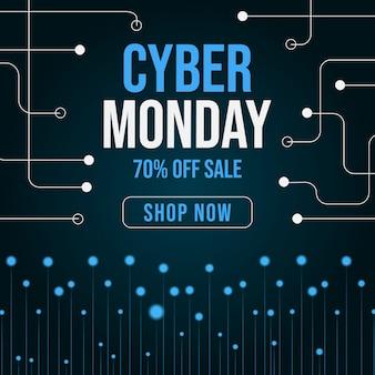 Cyber segunda-feira azul banner com elementos brancos