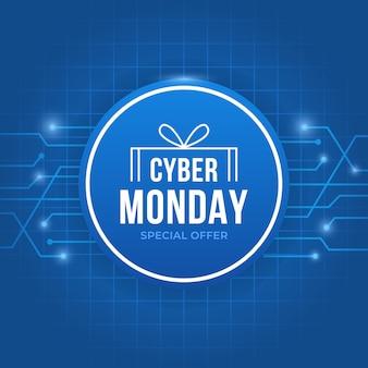 Cyber segunda-feira azul com texto dentro do círculo