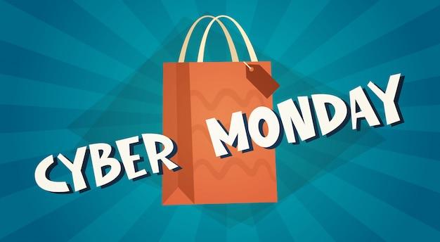 Cyber segunda-feira banner com sacola de compras