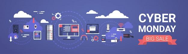 Cyber segunda-feira big venda banner design com dispositivos modernos