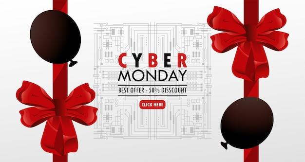 Cyber segunda-feira com balões de cor vermelha hélio e arcos.