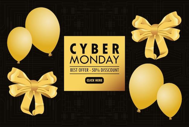 Cyber segunda-feira com balões dourados de hélio e laços de fitas em fundo preto.