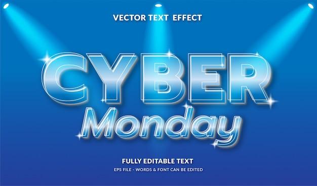 Cyber segunda-feira com efeito de texto editável de estilo moderno