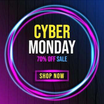 Cyber segunda-feira com faixa de luz neon