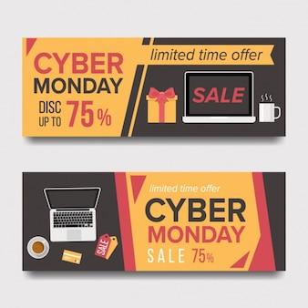 Cyber segunda-feira de design banners