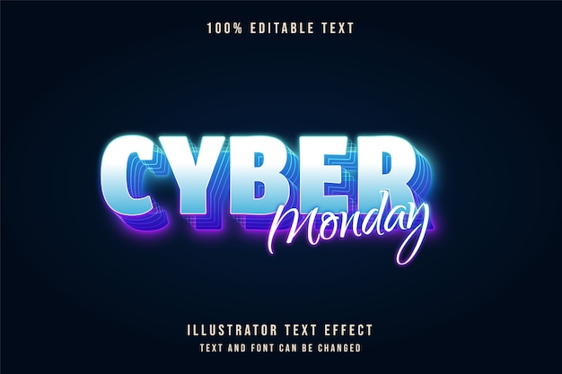 Cyber segunda-feira, efeito de texto editável em 3d gradação azul e efeito de texto neon roxo
