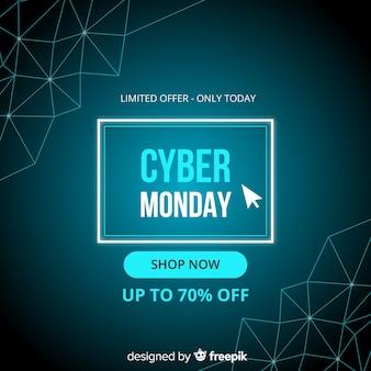 Cyber segunda-feira em design plano com gradiente