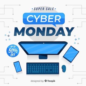 Cyber segunda-feira em design plano