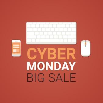 Cyber segunda-feira grande venda banner com mouse de computador, teclado e celular smartphone, conceito de banner de compras de tecnologia