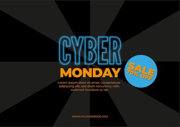Cyber segunda-feira, ilustração de conceito de venda de desconto em estilo neon