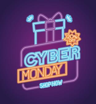 Cyber segunda-feira neon com design de presente, venda de comércio eletrônico, compras on-line