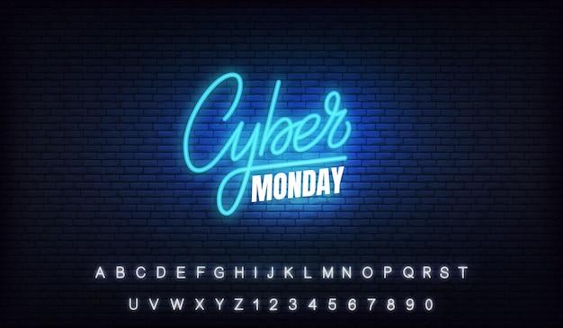 Cyber segunda-feira neon. sinal de letras brilhantes