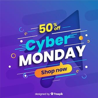 Cyber segunda-feira plana com grande seta