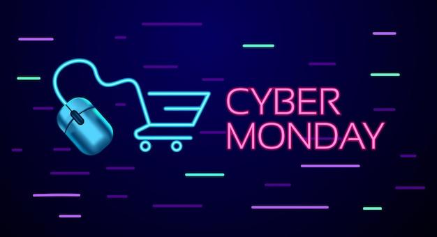 Cyber segunda-feira sinal de néon colorido estilo conceitual