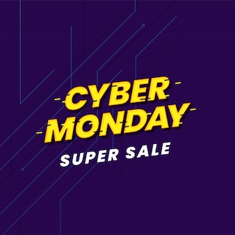 Cyber segunda-feira super venda cartaz modelo de mídia social tipografia de efeito falha no banner do ciberespaço.