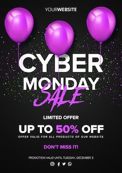 Cyber segunda-feira super venda poster com balões
